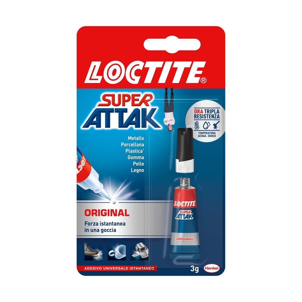 Loctite Super Attak Original, colla liquida trasparente con tripla resistenza e istantanea, colla resistente per gomma, metallo, ceramica, legno, cuoio, pelle, 1x3g