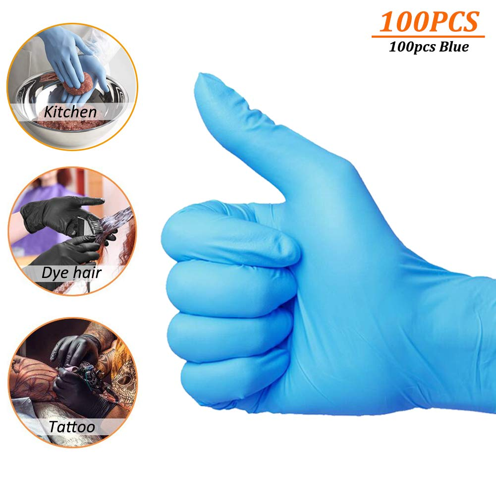 Guanti usa e getta in nitrile blu e nero, 100 pezzi, 4 mil, senza lattice, senza polvere, testurizzati, usa e getta, non sterili., L, 100