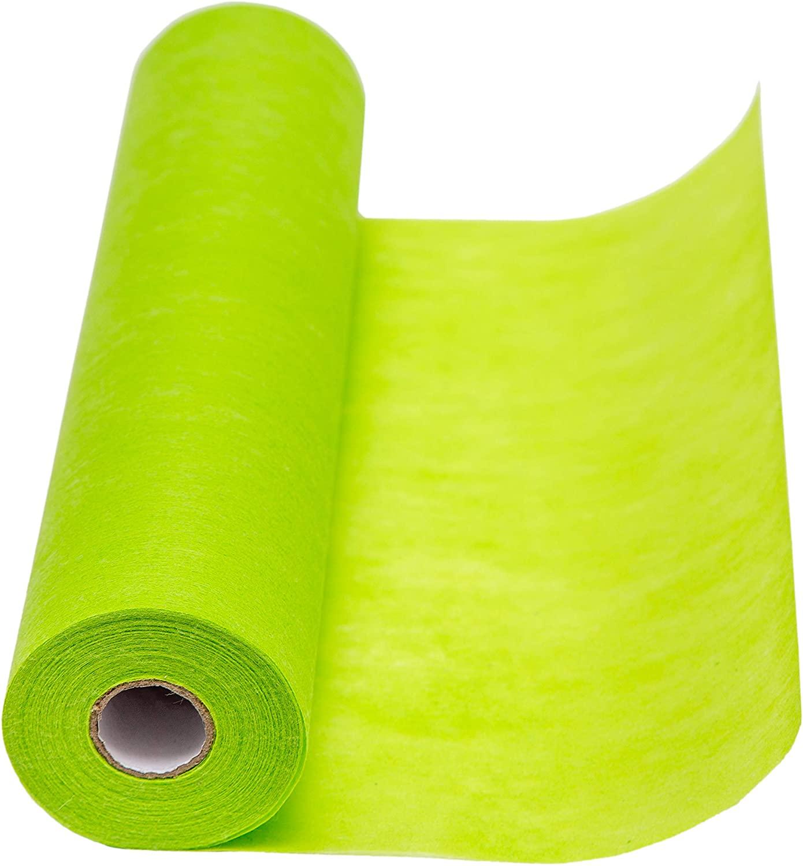 Runner da tavolo in tessuto non tessuto, 1 rotolo 25 m x 30 cm, tessuto decorativo, nastro da tavola, decorazione per matrimonio, battesimo, comunione, compleanno. verde
