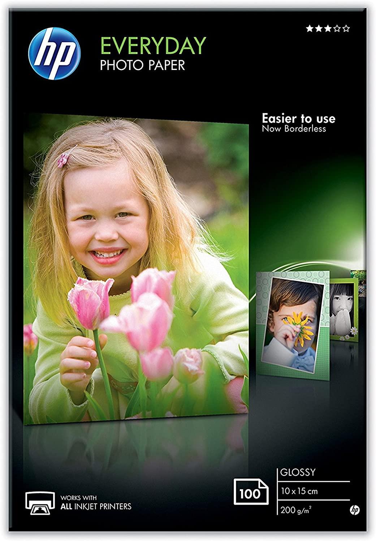 HP Everyday Glossy Photo Paper CR757A, Confezione da 100 Fogli di Carta Fotografica Lucida, Originali HP, Compatibile con Stampanti a Getto di Inchiostro, 10 x 15 cm, Grammatura 200 g/m², Bianco