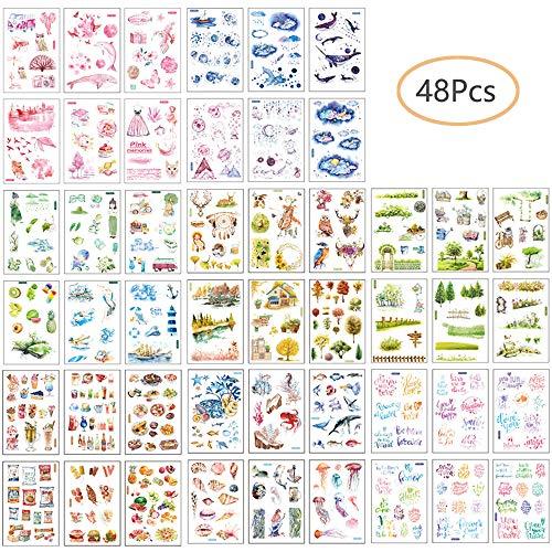 Pegatinas Álbum de Recortes, 48 Hojas Pegatinas Inicio Dulce y Cálido para DIY Manualidades Decoración Scrapbooking Álbumes de Recortes Calendarios Tarjetas (Set A)