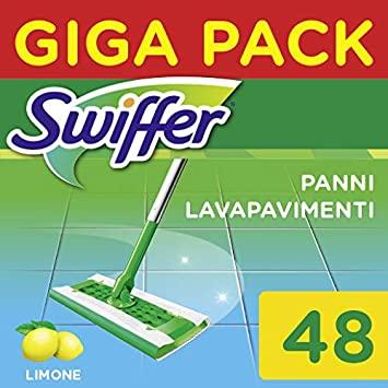 Swiffer Wet Panni Umidi Lavapavimenti per Scopa, Maxi Formato 48 Pezzi, 2 Confezioni da 24 Panni