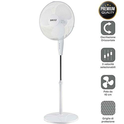 Bakaji Ventilatore a Colonna Piantana Potenza 45W Diametro Pale 40cm 3 Velocità Selezionabili Altezza regolabile Oscillazione Orizzontale Colore Bianco
