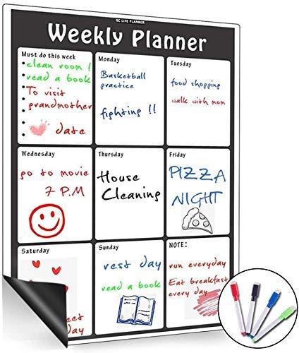 Lavagna magnetica con calendario mensile, cancellabile a secco, grande, multifunzione, bianca, organizzatore settimanale per frigo, sala delle riunioni, classe Vertical