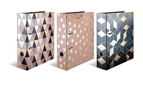 HERMA Registratore a leva con anelli Fashion & Style, A4, dorso 7 cm, cartonato, colori assortiti, confezione da 5