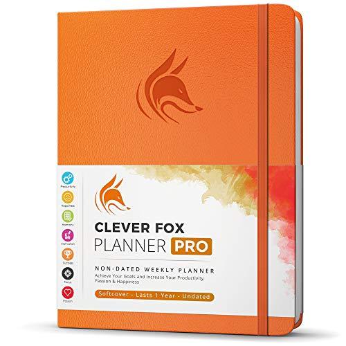 Clever Fox Planner PRO - Planner Settimanale/Mensile. Per aumento della tua produttività, Gestione del Tempo e raggiungere i tuoi obiettivi - Organizer, dura 1 anno - A4, Senza Data - Arancia
