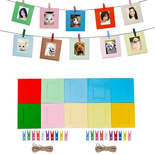 Cpano 20PCS Wall Decor Paper Hanging photo film telaio per Fujifilm INSTAX mini 8 7s 8 + 9 25 26 50s 90 pellicole Polaroid & Name card (multicolore)