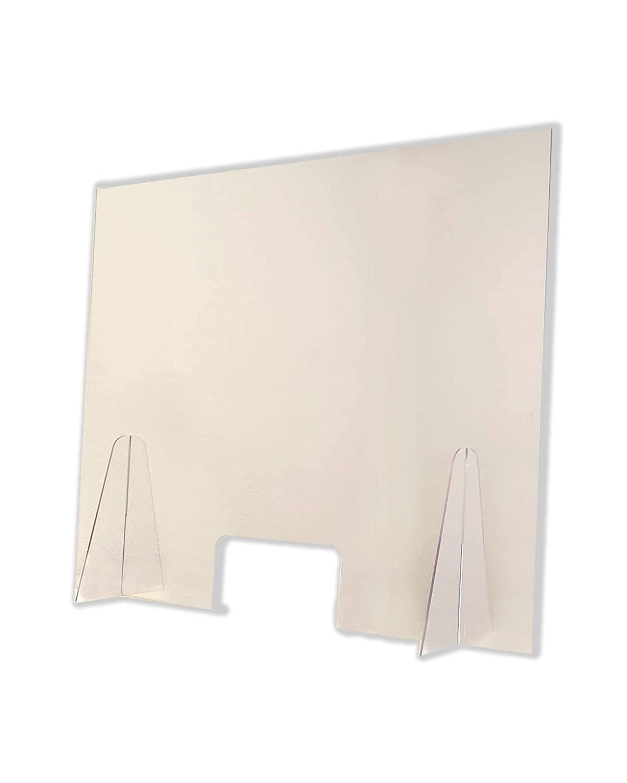 Barriera Protettiva Parasputi Separatore per Banconi 100x80cm - Realizzato in PET Trasparente- Pannello di Protezione da Banco Trasparente per Farmacie, Uffici, Negozi e Supermercati