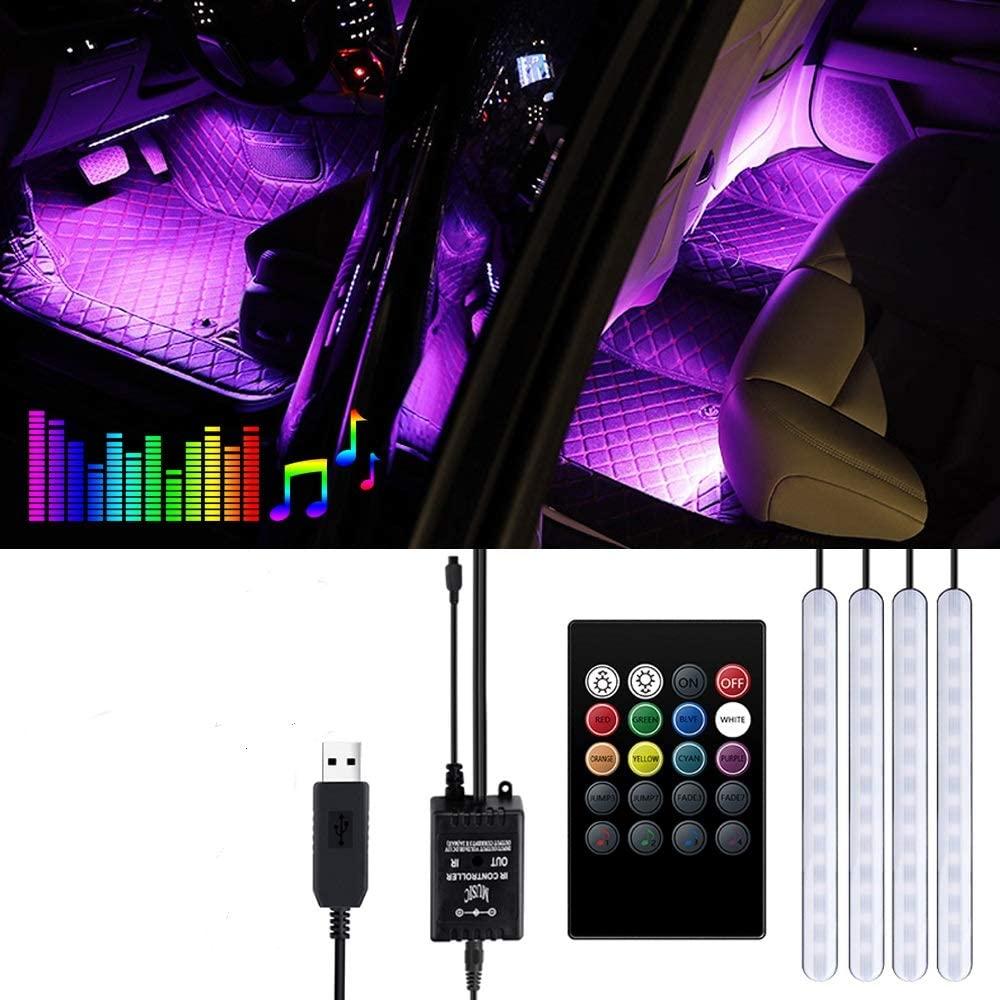 Striscia LED Auto - Trongle Luci LED Interne per Auto con 48 LED RGB, 4 Barre Striscia LED Auto 8 Colori, Illuminazione Auto Strisce 4 Modalità Musica, Telecomando– Alimentato da USB