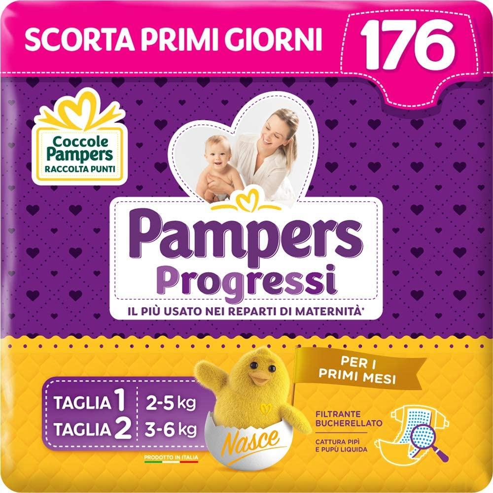 Pampers Progressi Primi Giorni, 56 Pannolini Taglia 1 (2-5 kg) e 120 Pannolini Taglia 2 (3-6) kg