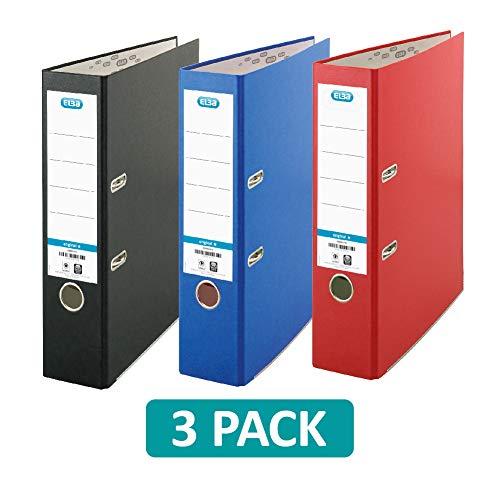Elba - Raccoglitore a leva, formato A4, colore: rosso/nero/blu, confezione da 3 pezzi Singolo Confezione da 3 rosso/nero/blu.