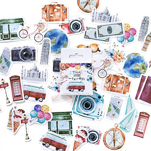 CFPacrobaticS 45Pcs/box adesivi decorativi fai da TE viaggio TEma diario scrapbook scuola cancelleria (Multicolore)