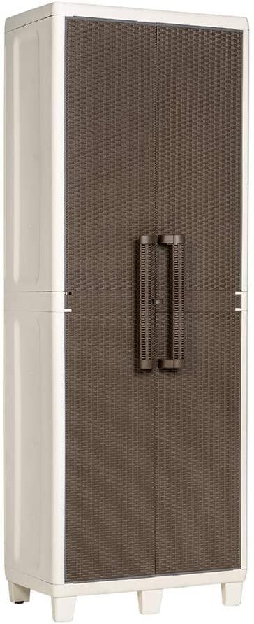 Toomax Armadio Portascope in Resina Impermeabile con Ripiani Salvaspazio, Perfetto per Casa, Giardino, Terrazzo e Balcone (Marrone 1)
