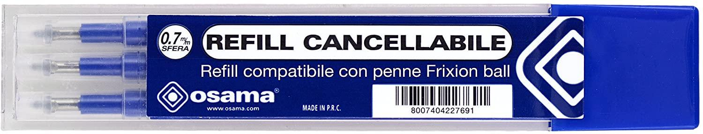 Osama Refill Compatibile con penne Frixion ball, 3 pezzi, blu
