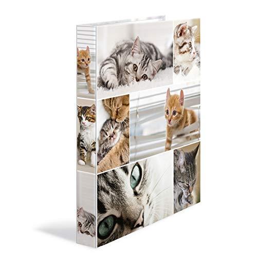 HERMA 19358ad anelli DIN A4Cartoncino, serie Animali, motivo: cane, 4Anelli, Dorso 35mm, 1cartella Stretta 4 anelli gatto