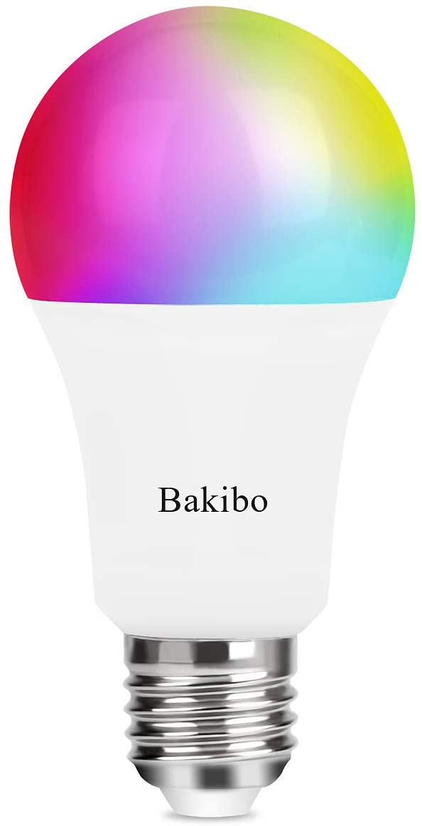 bakibo Lampadina Wifi Intelligente Led Smart Dimmerabile 9W 1000Lm, E27 Multicolore Lampadina Compatibile con Alexa, Google Home e IFTTT, A19 90W Equivalente RGBCW Colore Cambiante Lampadina, 1 Pcs