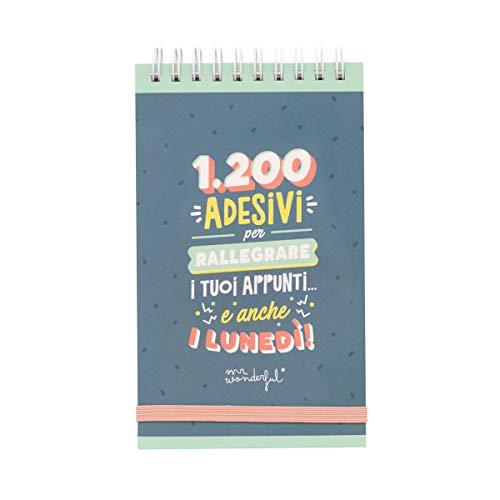 Mr. Wonderful WOA3808IT - Block spirale con 1200 adesivi per rallegrare i tuoi appunti