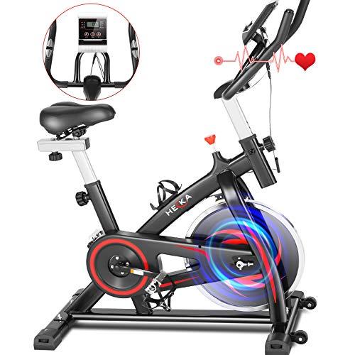 HEKA Cyclette Casa Bicicletta per Allenamento, Cyclette da Casa Pieghevole, Spinning Bike Cyclette Professionale da Interni, Cyclette Resistenza Regolabile con Display LCD e Cardiofrequenzimetro