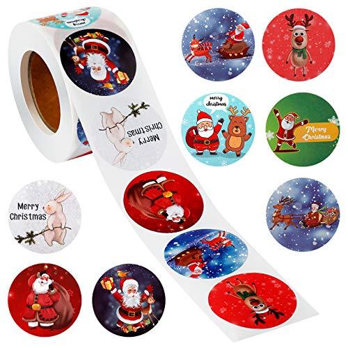Vintoney Adesivi Assortiti a Tema Natale per fai da te, sigillatura, decorazione, cottura, sacchetti regalo e artigianato