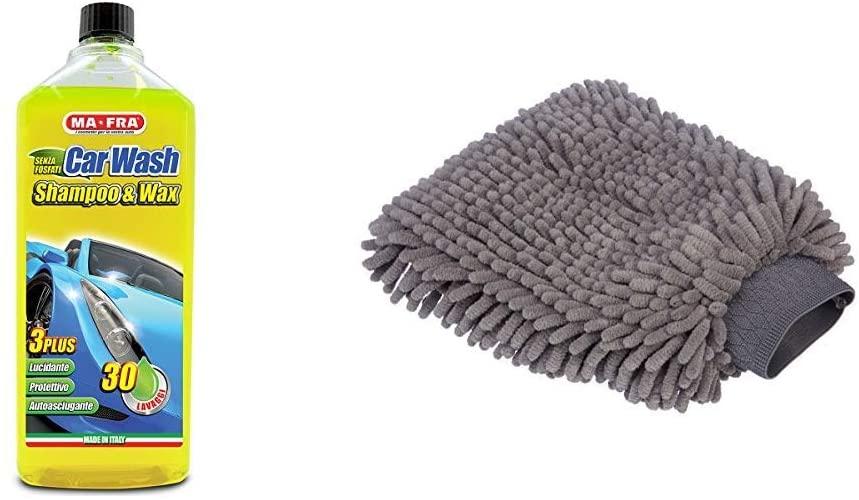 Ma-Fra MAH0930 Shampoo e Cera Car Wash, Giallo Fluo, 1000 ml & AmazonBasics - Guanto Deluxe in Microfibra per la Pulizia dell'auto