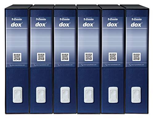 Esselte Dox 2 Raccoglitore a Leva Formato Protocollo D8, A4, Blu, Confezione da 6 Pezzi