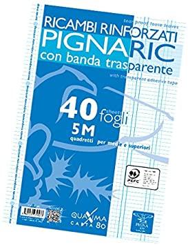 Pigna 02194595M, Ricambio con Banda Rinforzata, Rigatura 5M, quadretti 5 mm per medie e superiori, Carta 80g/mq, Pacco da 40 Fogli