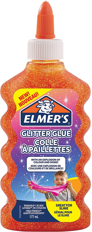 Elmer's Colla Vinilica Glitterata | Arancione | 177 ml | Lavabile | Perfetta per realizzare slime | Confezione da 1