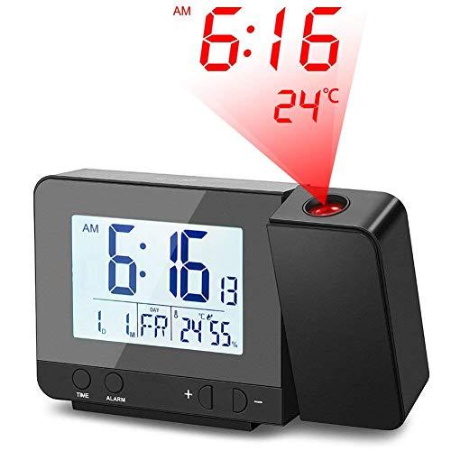 Deofde Sveglia con proiezione, Sveglia Digitale con Ampio Display LCD, Orologio Digitale con Doppio Allarme, Funzione Snooze, Timer di Standby, 12 / 24h, termometro Interno