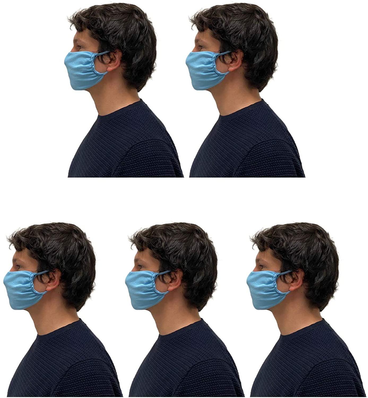 CALZITALY – PACK 5 PEZZI Fascia Protettiva Lavabile e Riutilizzabile, Tessuto Antibatterico, Protezione Naso e Bocca, Bianco, Nero, Made in Italy