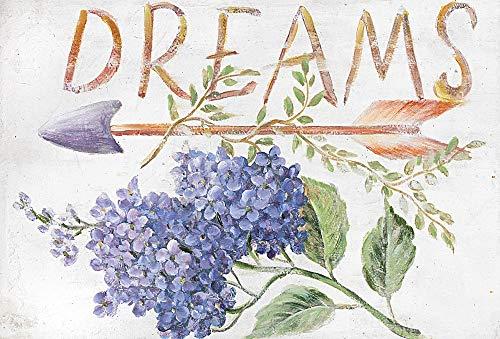 DISRAELI Quadro in Legno Stile Shabby Chic Arredamento Vintage Love/Dreams con Fiori Misure 30.5X20.3X1.5