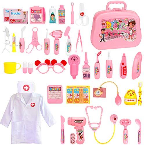 EXTSUD Kit Dottore Giocattolo 42 Pezzi Set Medico Accessori Giochi di Ruolo Imitazione Dottoressa Valigetta Infermiere Bambini Giocattolo Educativo Gioco Natale Compleanno per Bambini 3+ Anni