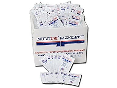 MultiUsi - Fazzolettini Disinfettanti, Attivo contro i Batteri, Deterge a Fondo, Deodora Rapidamente e Profuma la Pelle, Scatola da 400 bustine singole