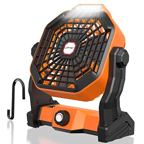 LOFTer Mini Ventilatore Portatile a Batteria Ricaricabile 5200mAh USB Ventilatore da Tavolo con Lampada Led Ventilatore da Scrivania Girevole per Casa, Ufficio e Campeggio