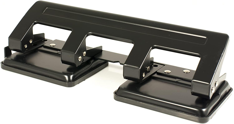 Pavo 8036554 - Perforatore a 4 fori con guida, per 20 fogli, colore: Nero