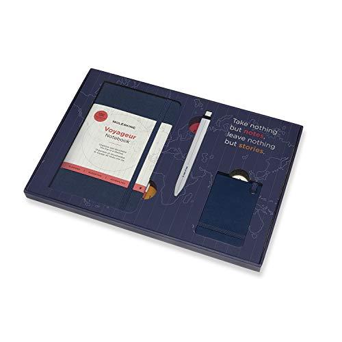 Moleskine Voyageur Kit da Viaggio, Notebook da Viaggio, Penna Go e Etichetta Bagaglio, Cofanetto Riutilizzabile per i Ricordi, Taccuino Blu Oceano, Dimensione 11.5 x 18 cm, 208 Pagine