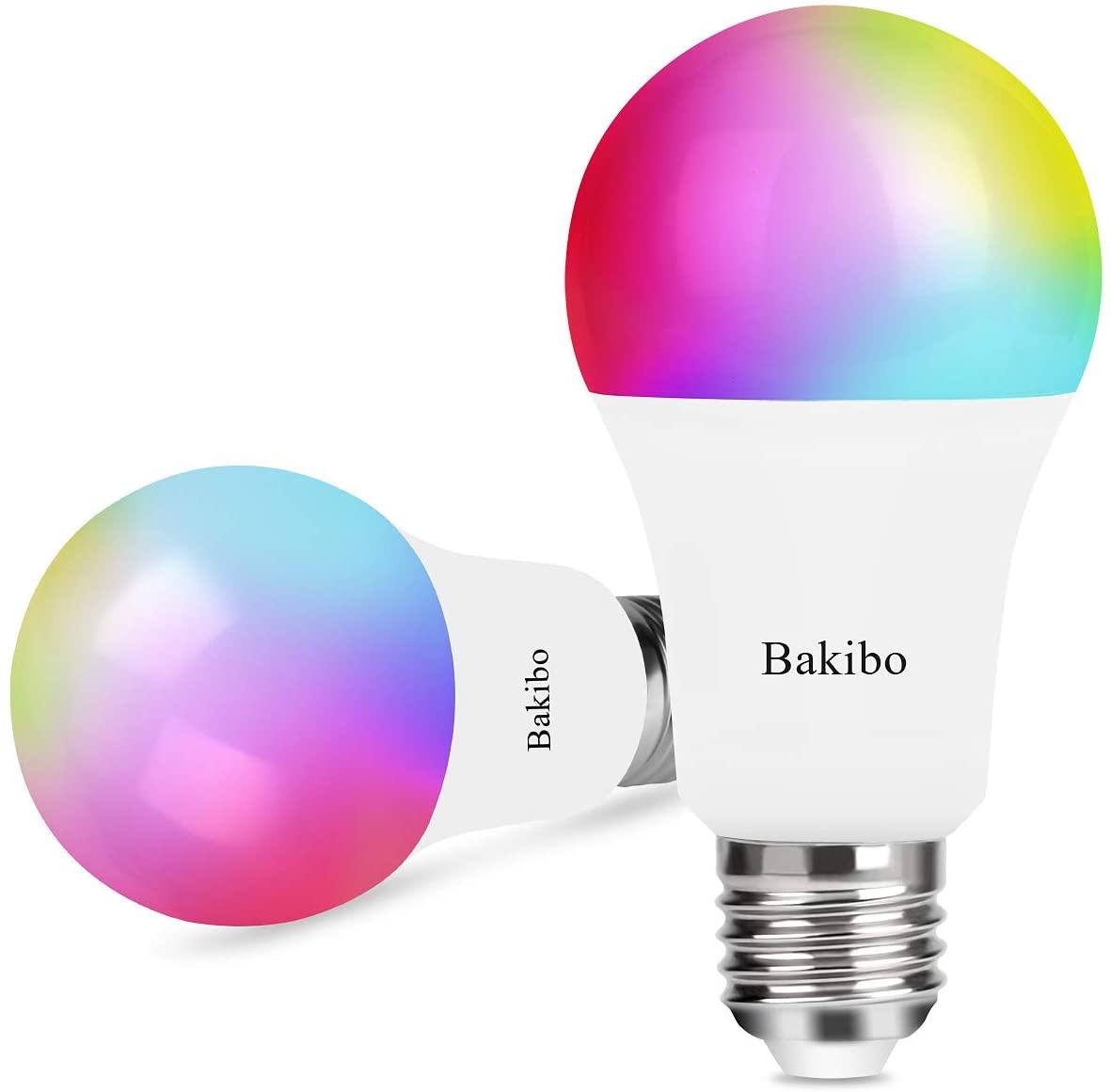bakibo Lampadina Wifi Intelligente Led Smart Dimmerabile 9W 1000Lm, E27 Multicolore Lampadina Compatibile con Alexa, Google Home e IFTTT, A19 90W Equivalente RGBCW Colore Cambiante Lampadina, 2 Pcs