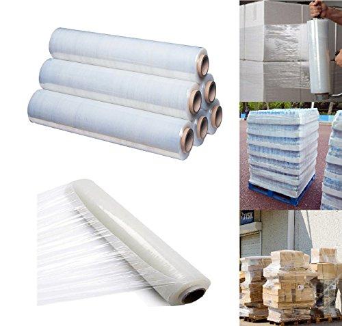 Set di rotoli di pellicola per pallet, 400mm x 250 metri, trasparente e termoretraibile, per imballaggi, Pack of 6, Clear / Transparent, 6