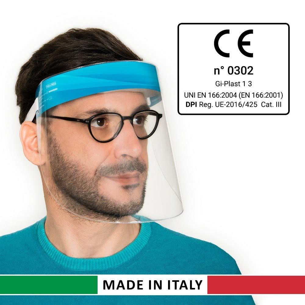 Gi-Plast Visiera Protettiva Paraschizzi Made In Italy Dispositivo di Protezione Individuale Cat.III CE 1 pezzo