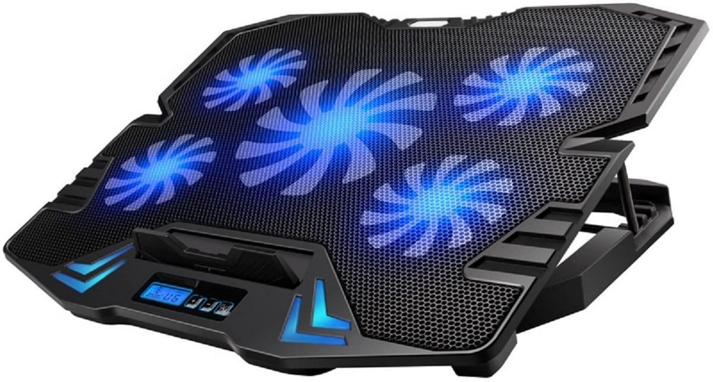 Ewent EW1259 Supporto Sistema di Raffreddamento per Notebook, MacBook 15.6 / 17 pollici con 5 Ventole Silenziose e con velocità regolabile e Luce LED, 30 x 37 x 3,8 cm