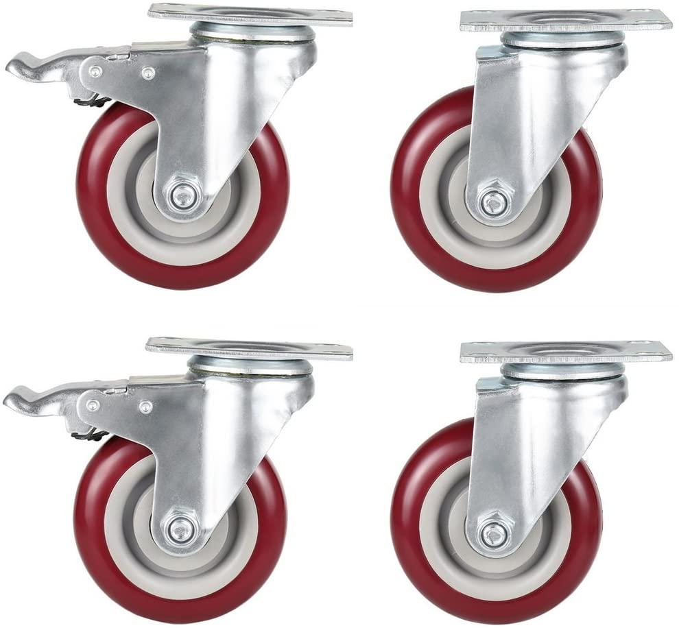 Voluker Set of 4 Ruote girevoli,100mm Ruote per mobili con freno,Capacità di carico massima 400KG(2 x Senza freno,2 x Con freno)