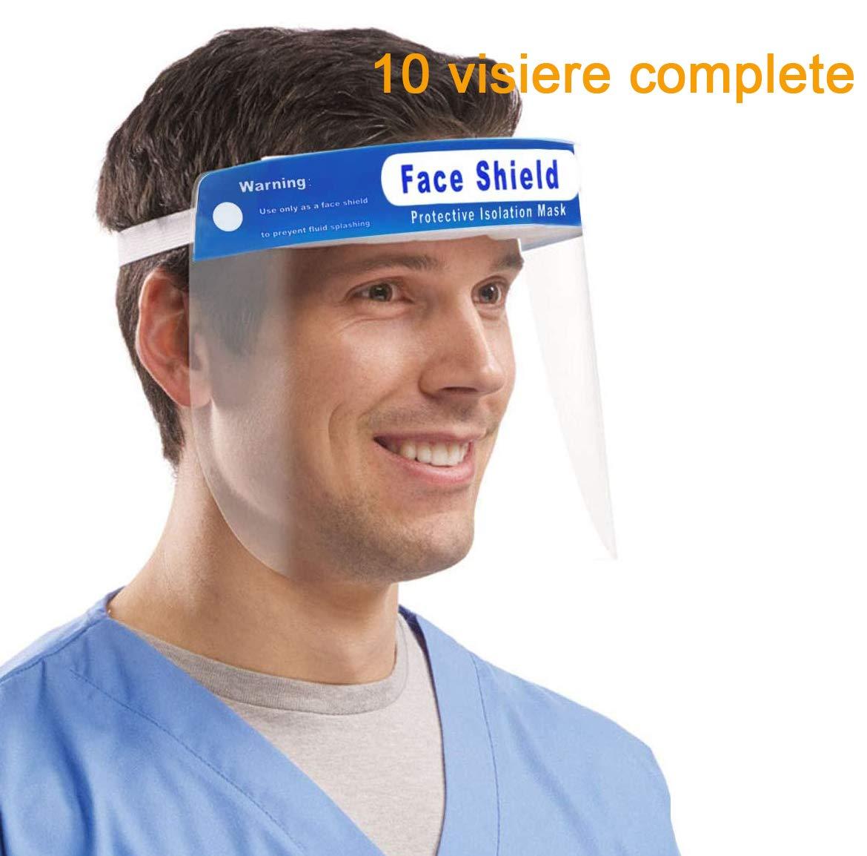 Visiera Protettivo,Plastica Regolabile visiera protettiva trasparente medici per Impedire Saliva,Gocciolina et (10)