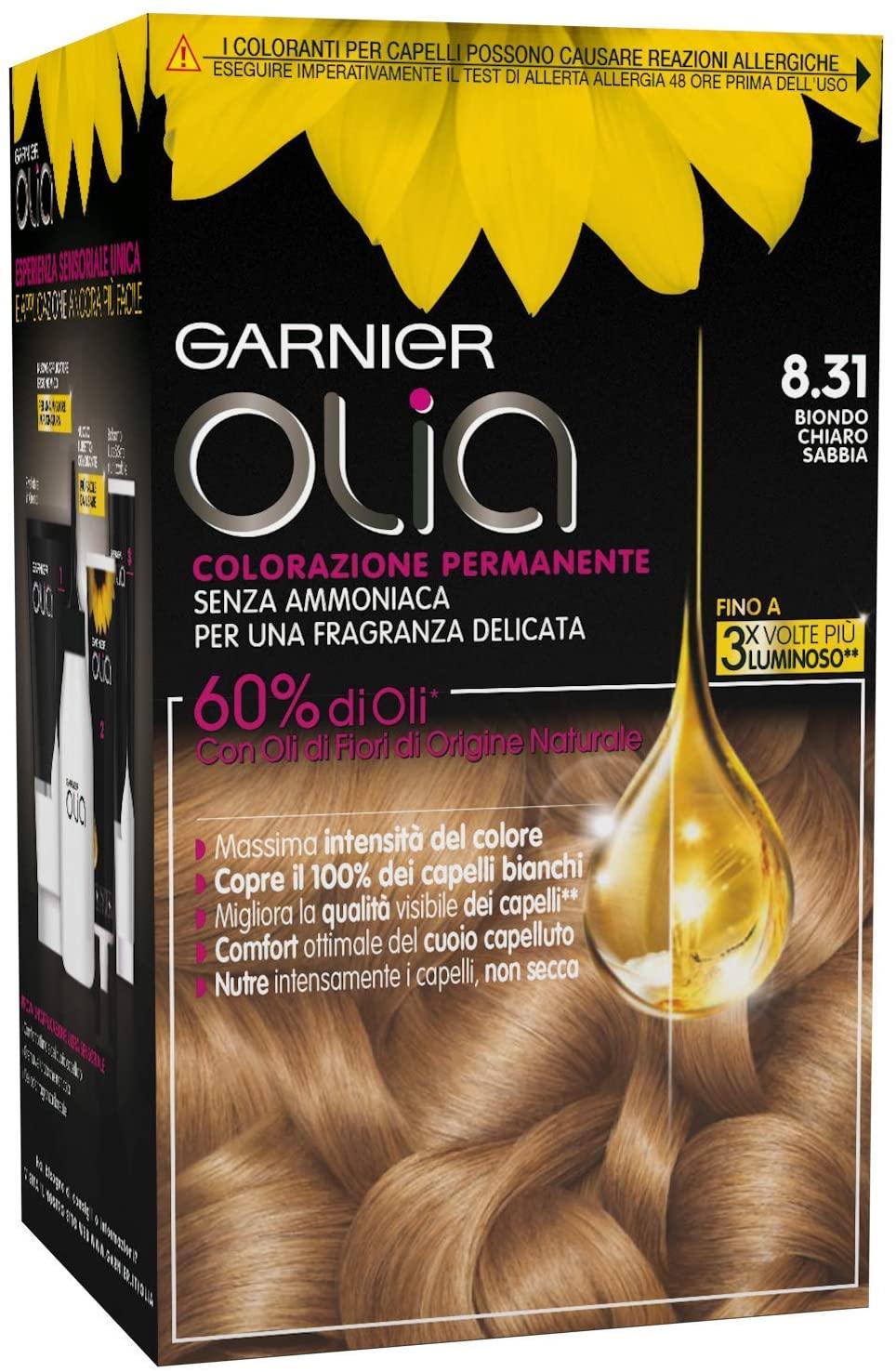 Garnier Olia Colorazione Permanente Senza Ammoniaca, Migliora la Qualità dei Capelli, Copre i Capelli Bianchi, 8.31 Biondo Chiaro Sabbia