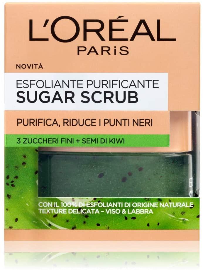 L'Oréal Paris Detergenza Sugar Scrub Esfoliante Purificante Viso & Labbra con Cristalli Fini di Zucchero + Semi di Kiwi, 50 ml