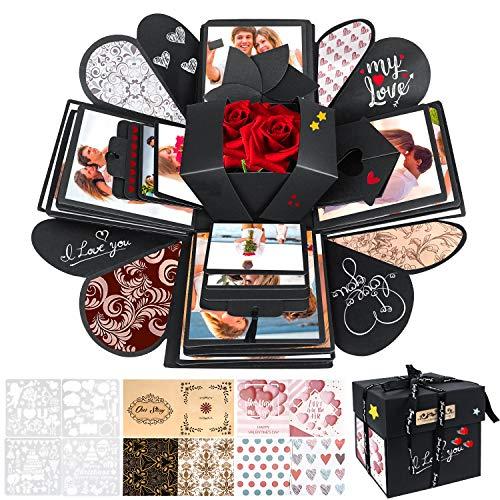 Explosion Box, WisFox Creativo Fai Da te a Sorpresa Esplosione Regalo Scatola Amore Memoria, Scrapbooking Photo Album Gift Box per il Compleanno di San Valentino Anniversary Wedding Festival di Natale