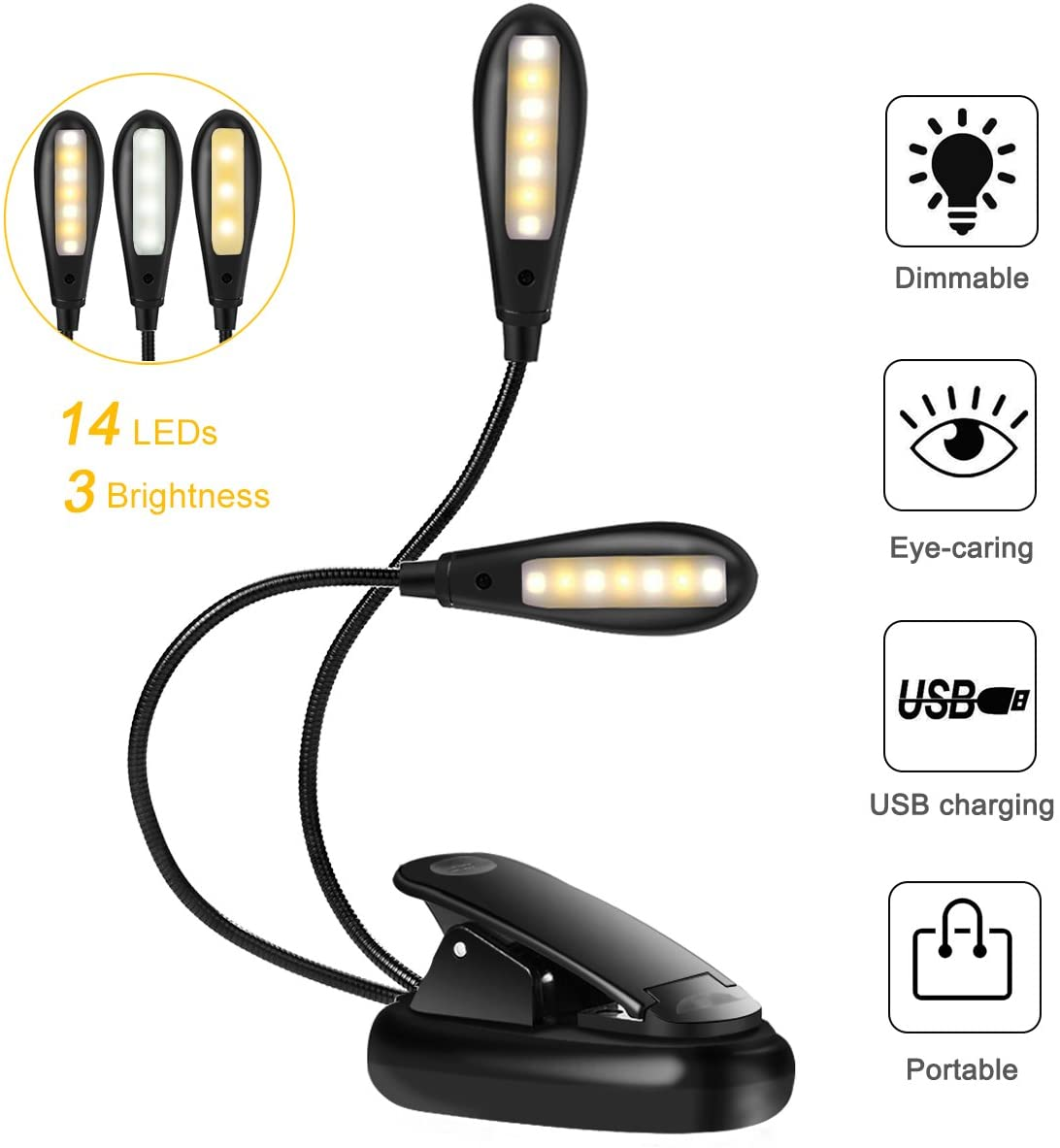 Luce per Lettura 14 LED 9 Livelli Luminosità Modalità, Luce Libro USB Ricaricabile Dual Head, Lampada da Lettura con Clip, Luce Leggio Dimmerabile Portatile per Lettura, Computer, Escursionismo