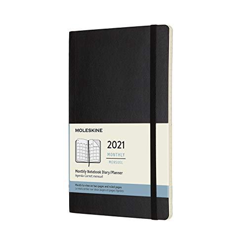 Moleskine - Agenda Mensile 2021, Planner Mensile 12 Mesi, Monthly Notebook con Copertina Morbida, Formato Large 13 x 21 cm, Colore Nero, 128 Pagine
