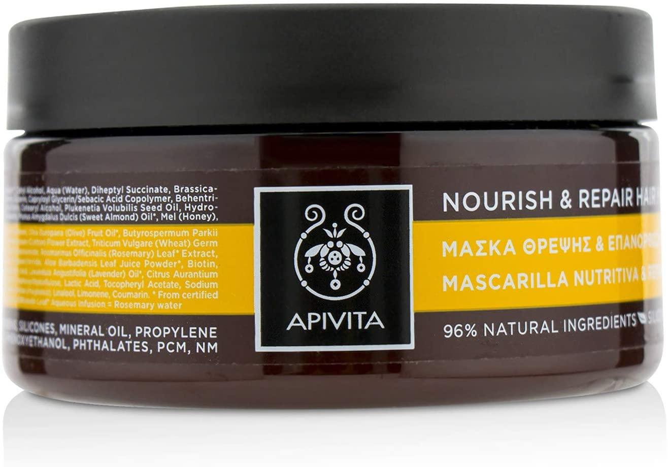 Apivita–maschera per capelli nutriente e ristrutturante Oliva & Miele.