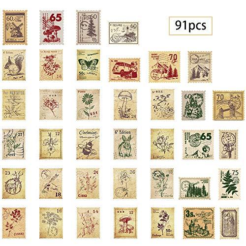 inherited 91 Pezzi Adesivi per francobolli Vintage, Notebook Phone Case Scrapbook, Set Adesivi per Album diario per Diario Album Fotografico Notebook Calendario Decorazione Scrapbooking