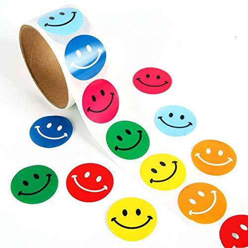 Lezed Adesivo Smiley Colorato Adesivo Sorriso Emoji Tondo Smile Face Adesivi Adesivo Emoji Scuola Casa Decorazioni Per Bambini Partito Natale Regali Per Children Adesivo 3,8*3,8 Cm (1 Volume 100 Pcs)