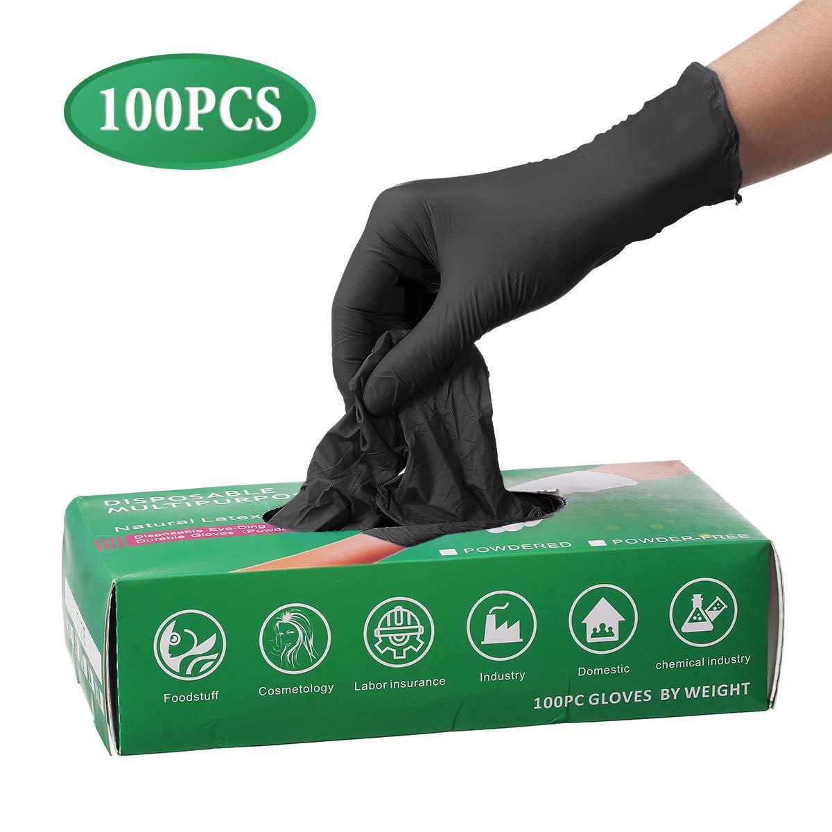 Camfosy Guanti Monouso Nitrile, Guanti Confezioneda100 Senza Polvere Lattice Ristorante per Fai da Te Cucina Casa Neri - Taglia S M L XL